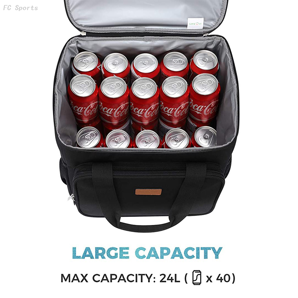 Collapsible Cooler Bag Insulated 24L (40-Can) large Leakproof Soft Sided Portable insulated Cooler Bag