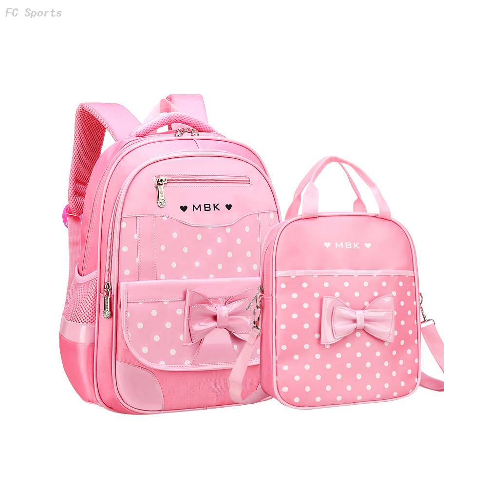 6-12 Year Old child's School Bag Set for Girl Fashion Dot Cute Bow bags for girls school