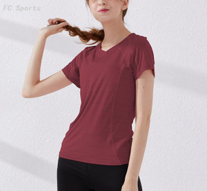 Sports short sleeve fitness yoga wear training shirt women Slim V-neck running quick-drying T-shirt