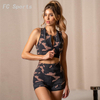 Fashion Camouflage Printed Yoga Suit Gym Clothing 2 Piece Sleeveless Sexy Splicing Top Shorts Set Sport Yoga Wear 4 orders