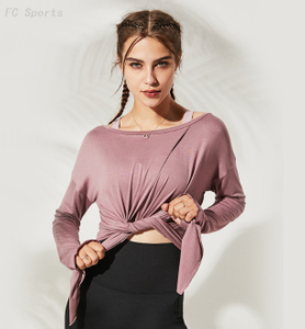 Double-faced long-sleeved yoga clothes wicking and quick-drying slim running fitness clothes