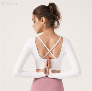 Yoga Long Sleeve T-Shirt Back Cross Sports Fitness Long Sleeve T-Shirt Women with Chest Pad crop top
