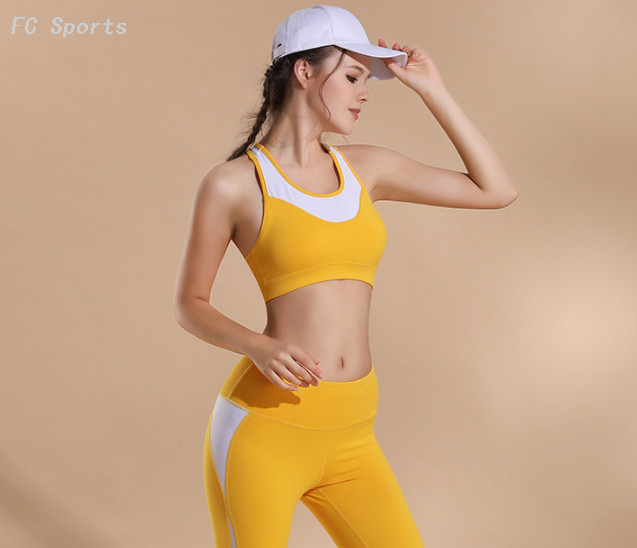 Two-piece yoga wear Quick-drying stitching tight pants Shockproof fitness vest sports bra suit