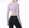Yoga Wear crop tops T-Shirt Long Sleeve Half Zipper Workout Sports T-Shirt
