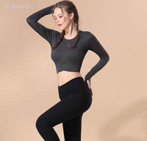 Breathable and quick-drying exposed navel workout clothes crop tops sport yoga long-sleeved
