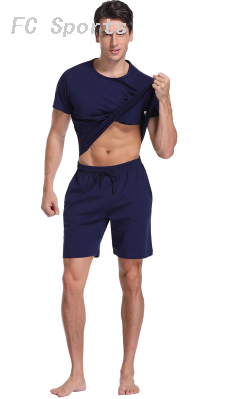 Two Piece Set Men Short Sleeve T Shirt Cropped Top+Shorts Men's Tracksuits 2019 New Causal Sportswear Tops Short Trouser