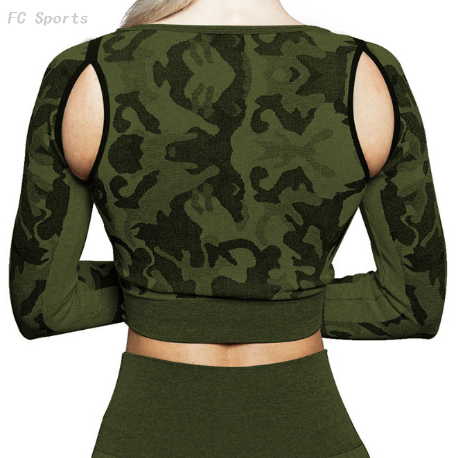 Women's crop top fit quick-drying sports long-sleeved fitness yoga clothes breathable T-shirt