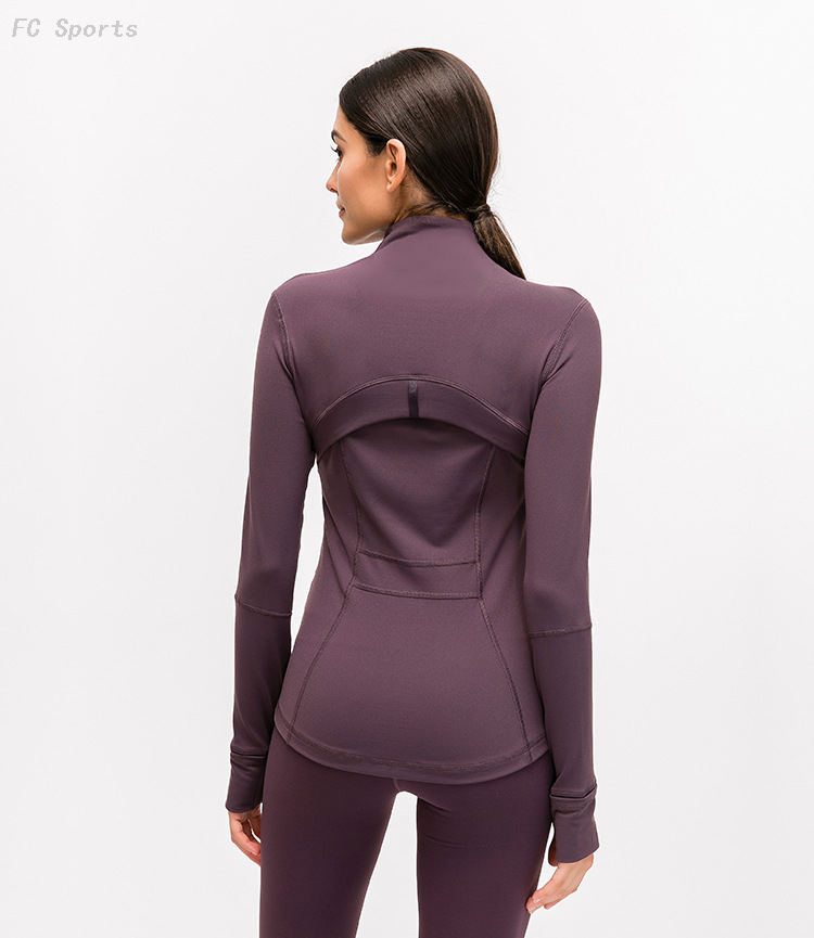 FC Sports 2019 Autumn Winter New Yoga Sports Jacket Female Nylon Stretch Zipper Running Yoga Long-sleeved Shirt