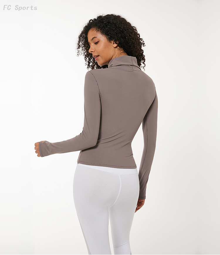 FC Sports Autumn Yoga Wear Long Sleeve Women High Collar Slim Thin High