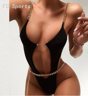 Extreme bikinis 2019 Mujer High cut swimwear women Sexy ring chain bodysuits one-piece swimsuit female monokini Summer bathers