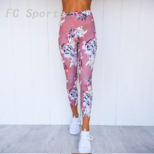Women Yoga Set Fitness Floral Tracksuit Sexy Gym Wear Cross Strip Top Leggings Running Clothing Sportswear Sport Suit