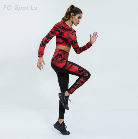Women Sportswear Camouflage Crop top Sports Wear Running Set Breathable Slim Fitness Clothes Gym Jogging Workout Sport Yoga Suit