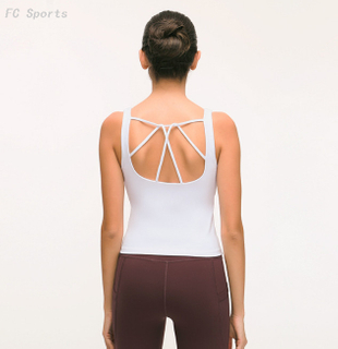 Running fitness yoga vest female with chest pad quick-drying cross backless sports underwear
